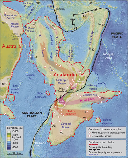 Kartta erittelee Seelantian rajat.