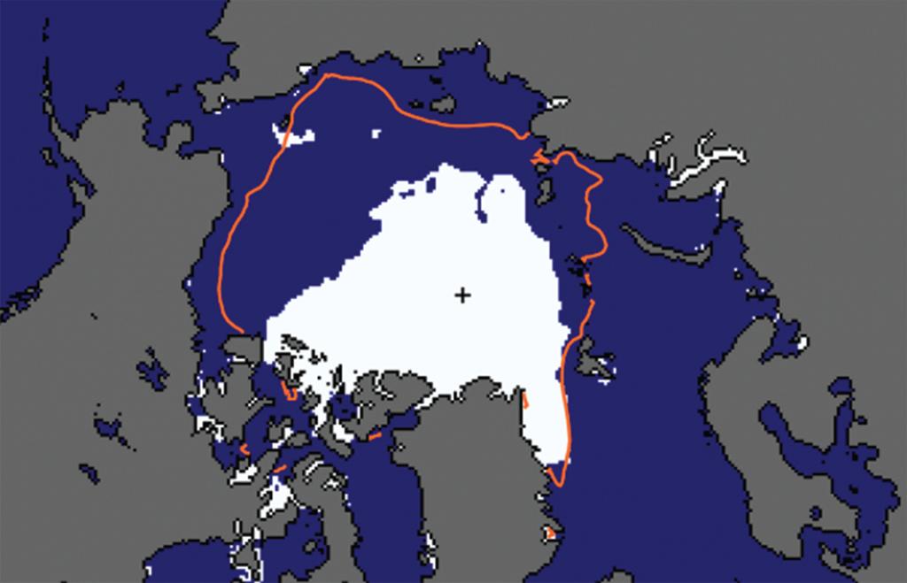 Kuvassa näkyy valkoisella arktisen merijään alue vuonna 2007. Punainen viiva osoittaa vuosien 1981-2010 keskiarvoa.
