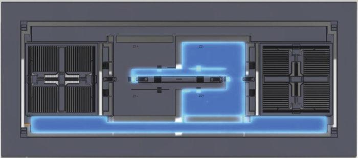 Kolmiakselisen kiihtyvyysanturin molemmissa päissä ovat x- ja y-suuntaa mittaavat osat. Keskellä nouseva saksimainen rakenne tarkkailee z-akselia. Yksittäistä suuntaa mittaavassa osassa on jouseen kiinnitetty massa, jonka poikkeama lepotilasta havaitaan kapasitanssin muutoksena kamparakenteessa.