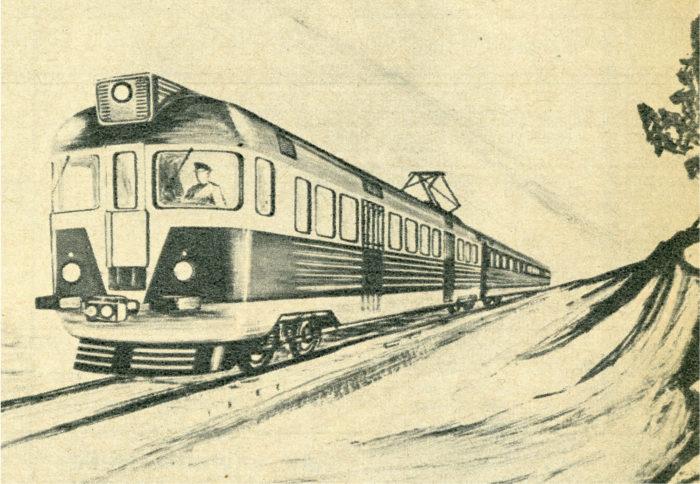 Taiteilijan näkemys kotimaisesta sähköjunasta.