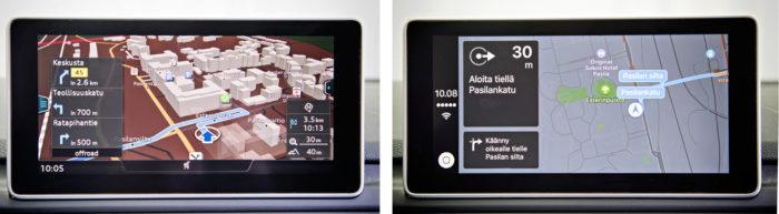 Vasemmalla on oman navigaattorin kuva ja oikealla Carplayn kautta tuleva karttanäkymä.
