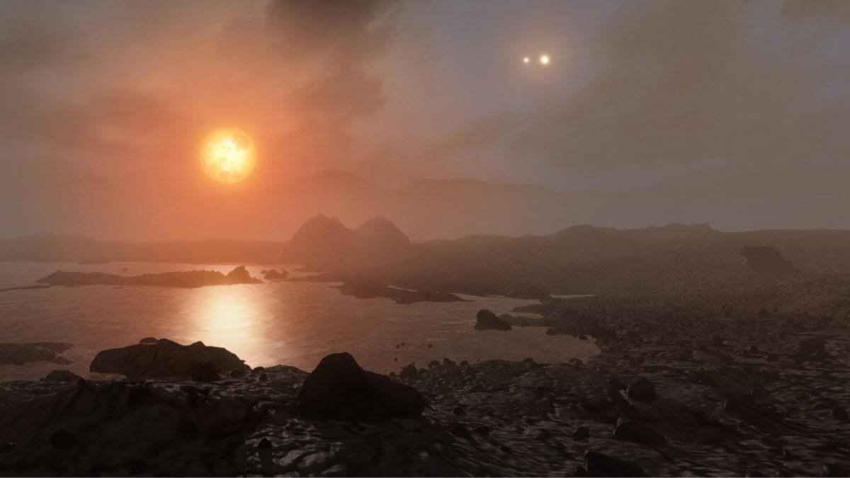 Tältä saattaisi näyttää  Maan kaltaisella planeetalla, jonka taivaalla loistaa kolme Alpha Centauriin kuuluvaa tähteä. Suurimpana kuvassa niistä näkyy punainen kääpiötähti Proxima Centauri.