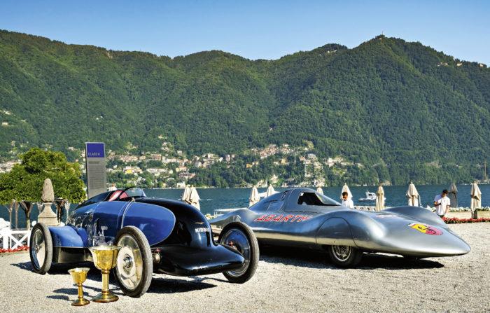 Virtaviivainen kaksikko: vasemmalla yleisöäänestyksen voittaja Lurani Nibbio, oikealla päivän erikoisimmin muotoiltu prototyyppi Fiat-Abarth 1000 Bialbero Record.