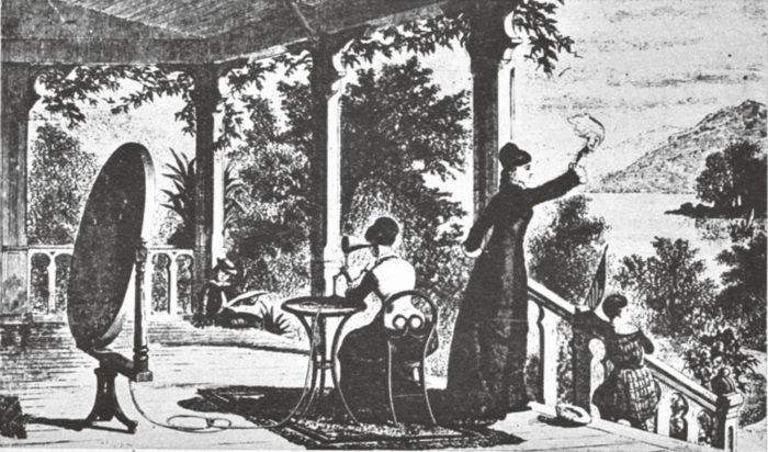 Eipä taitaisi nykyisin paraboloidiheijastimelle patenttia lohjeta. Kuvamme on nimittäin 1800-luvulta. Lapsi kuuntelee siinä järveltä ääniä kuuntelutorvella, joka suuntaa äänikeilan oikein.