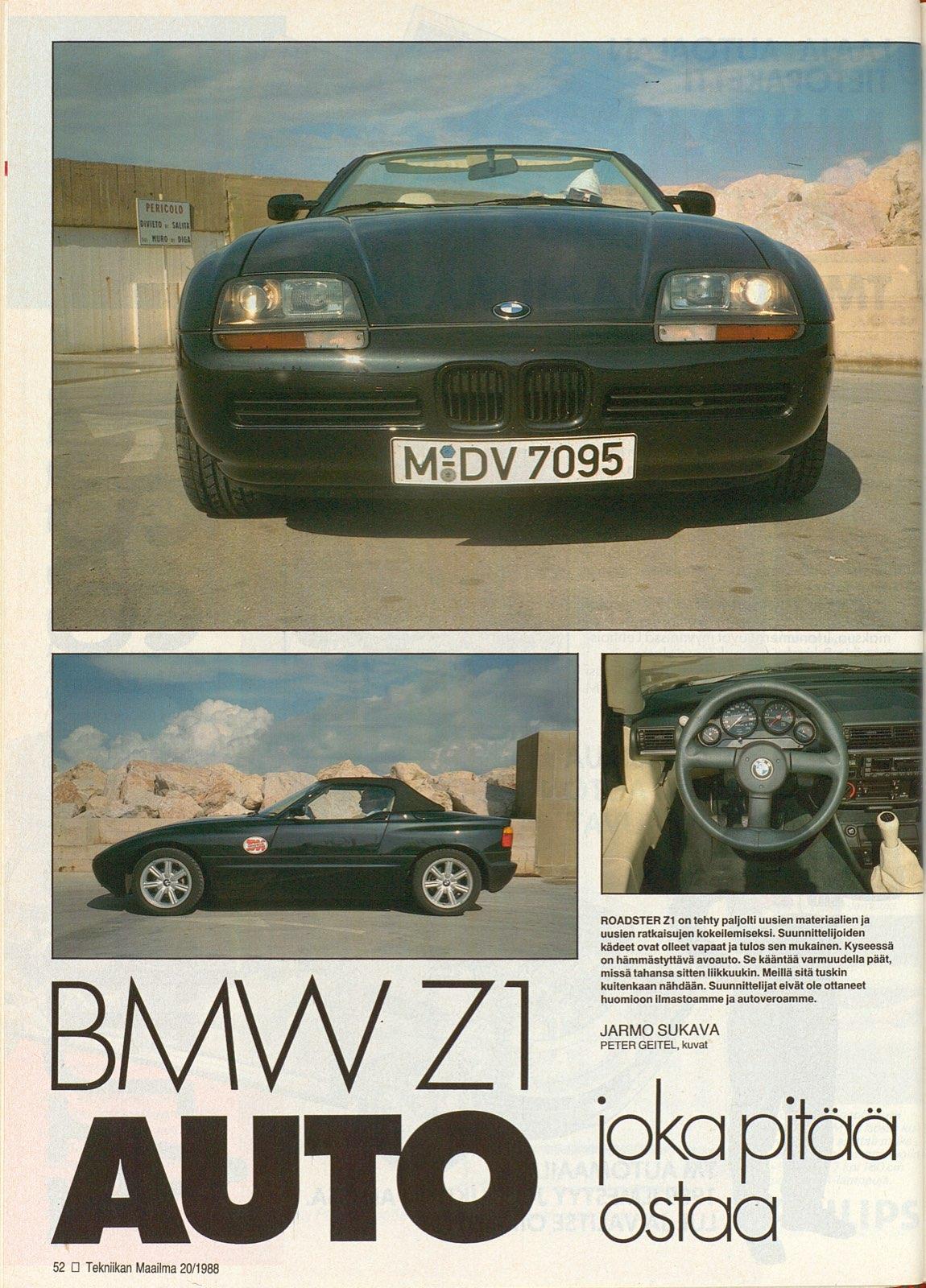 Bmw Z1 20 1988 N 228 K 246 Islehti Tekniikanmaailma Fi