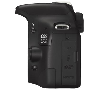 Canon EOS 550D liitännät kannen takana