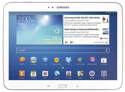 Samsung Galaxy Tab 3 edestä