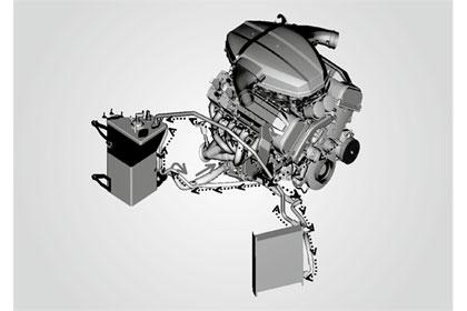 VOITELUN varmistamiseksi ja moottorin madaltamiseksi voitelu hoidetaan erillisestä säiliöstä. Kuivasumppu on vakiintunut, joskaan ei kovin onnistunut käännös.