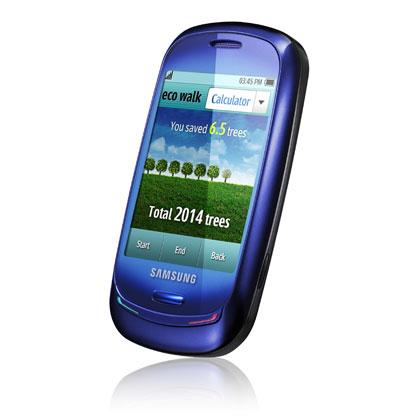 BARCELONASSA nähtiin jo merkkejä ympäristöystävällisistä puhelimista. Samsung Blue Earth -kosketusnäyttöpuhelimen akku latautuu aurinkoenergialla. Energiapihiä laitetta voi ladata pilvisinä päivinä myös vähävirtaisella laturilla. Puhelimen kuori on valmistettu kestävän kehityksen mukaisesti muovipulloista kerätystä kierrätysmuovista.