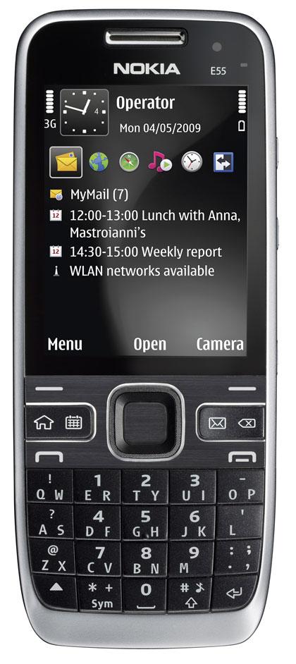 NOKIA E55 on kätevänkokoinen yrityspuhelin, jossa siinäkin on uudenlainen kompakti näppäimistö. Merkittävä ominaisuus ja varsinkin työkäytössä eduksi on myös poikkeuksellisen pitkä akkukesto: puhelimen luvataan toimivan valmiustilassa liki kuukauden. Nokia E55 on tulossa kauppoihin kesällä, ja sen hinnaksi arvioidaan noin 350 euroa.